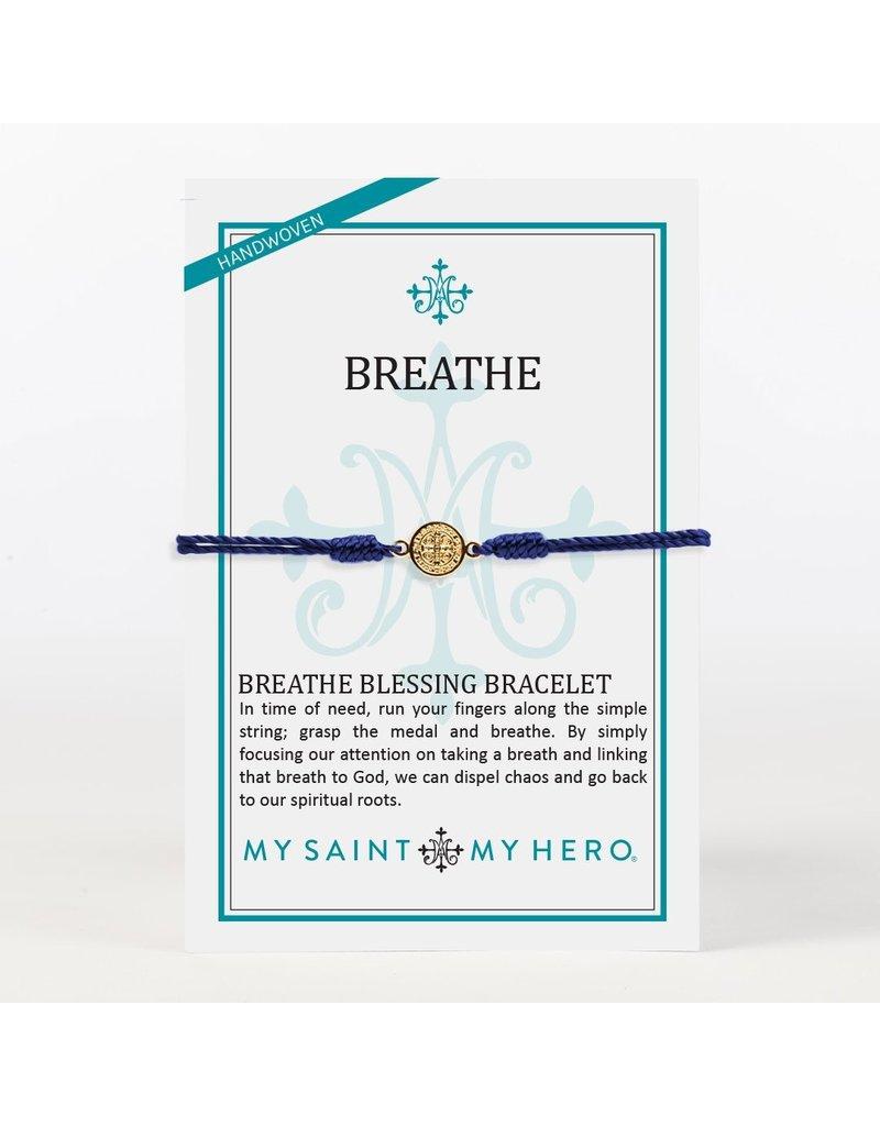 My Saint My Hero Navy & Gold Breathe Blessing Bracelet
