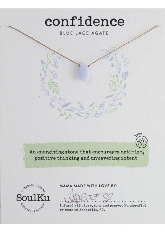 SoulKu Blue Lace Agate Luxe Confidence Necklace