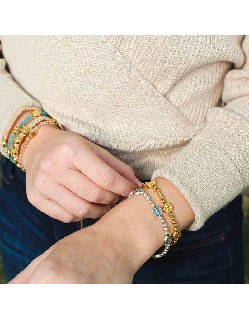 My Saint My Hero Gold Benedictine Birthday Blessing Bracelet