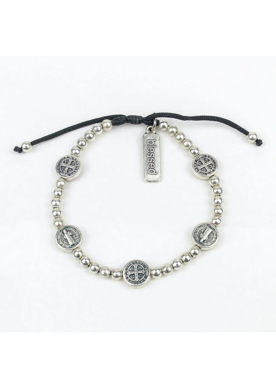 My Saint My Hero Silver Benedictine Birthday Blessing Bracelet