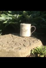 Barbarah Robertson White Rustic Handmade Pottery Bee Mug