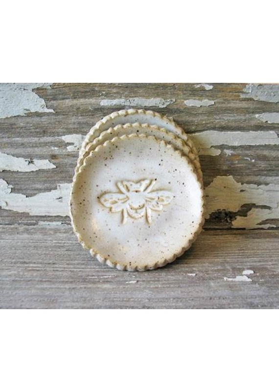 Barbarah Robertson White Rustic Bee Pottery Dish
