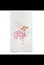 French Graffiti Flamingo Terrible Idea Dishtowel