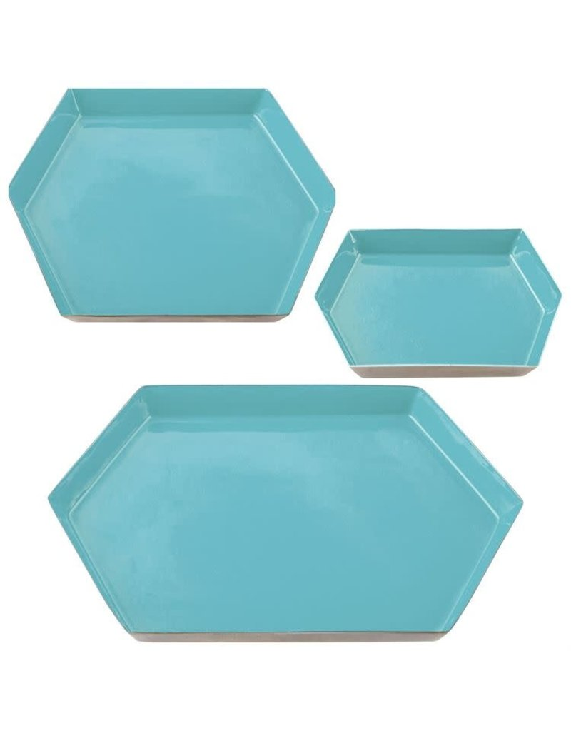 Karma Medium Teal Hexagon Enamel Tray