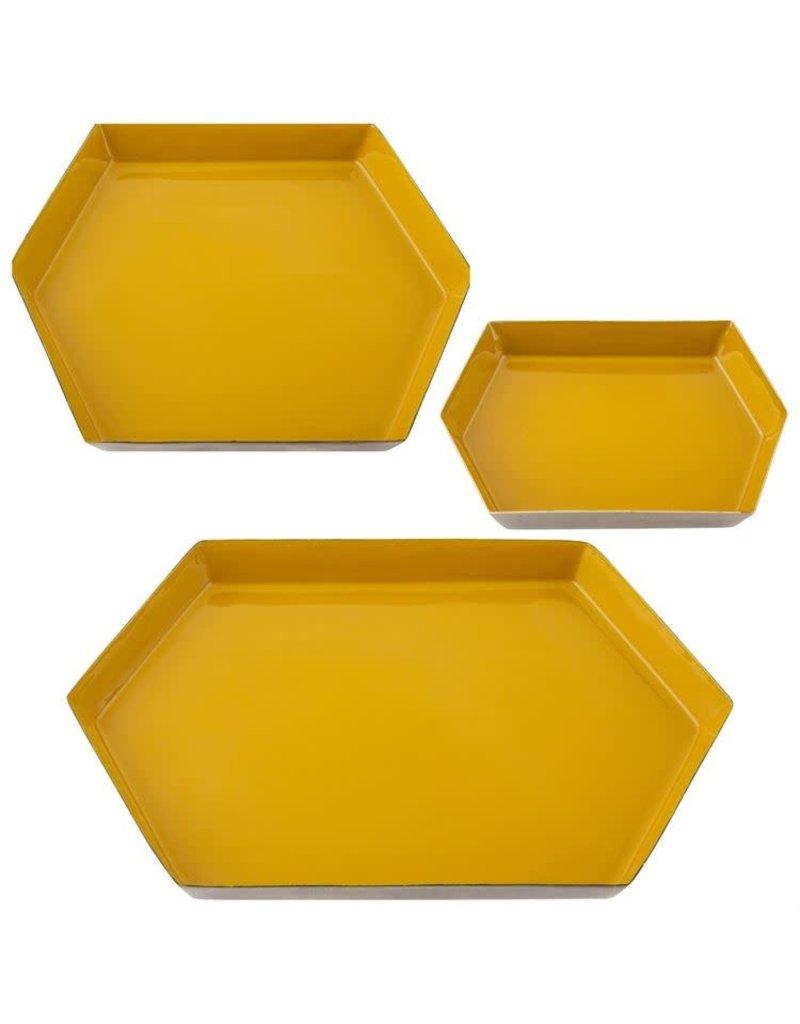 Karma Small Mustard Hexagon Enamel Tray