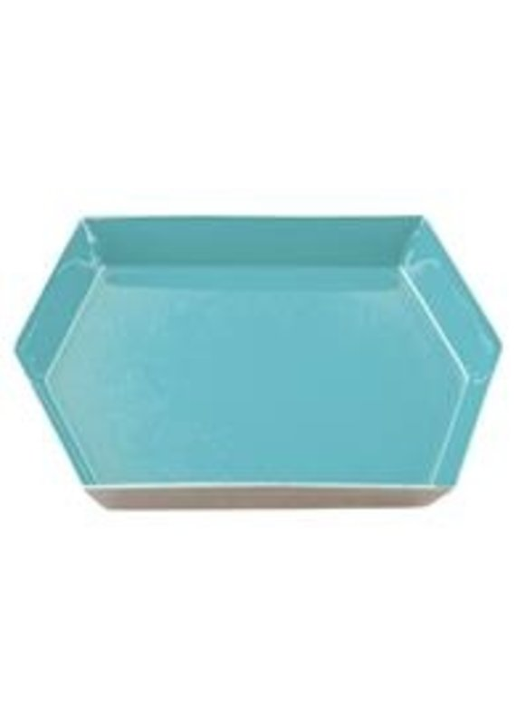 Karma Small Teal Hexagon Enamel Tray