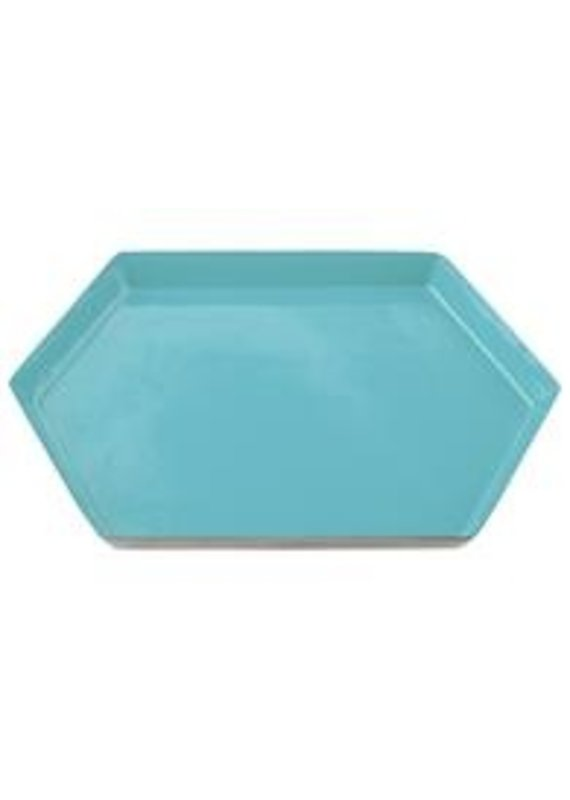 Karma Large Teal Hexagon Enamel Tray