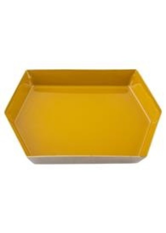 Karma Small Mustard Hexagon Enamel Tray