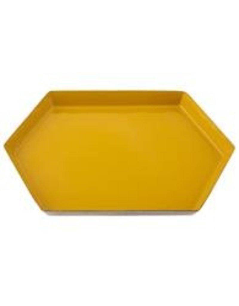 Karma Large Mustard Hexagon Enamel Tray