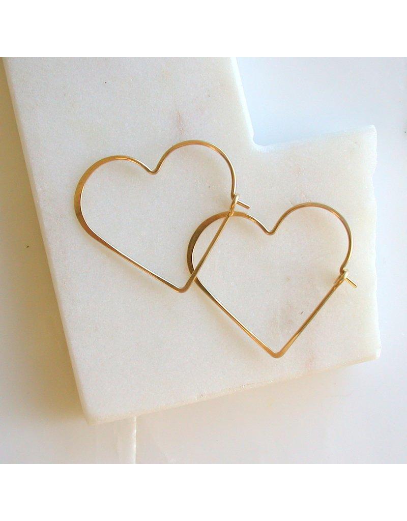 Linda Trent 14K Gold Fill Medium Heart Hoops