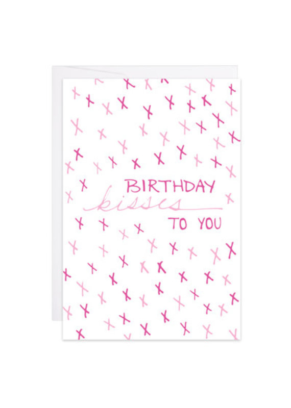 9th Letter Press Birthday Kisses Mini Card