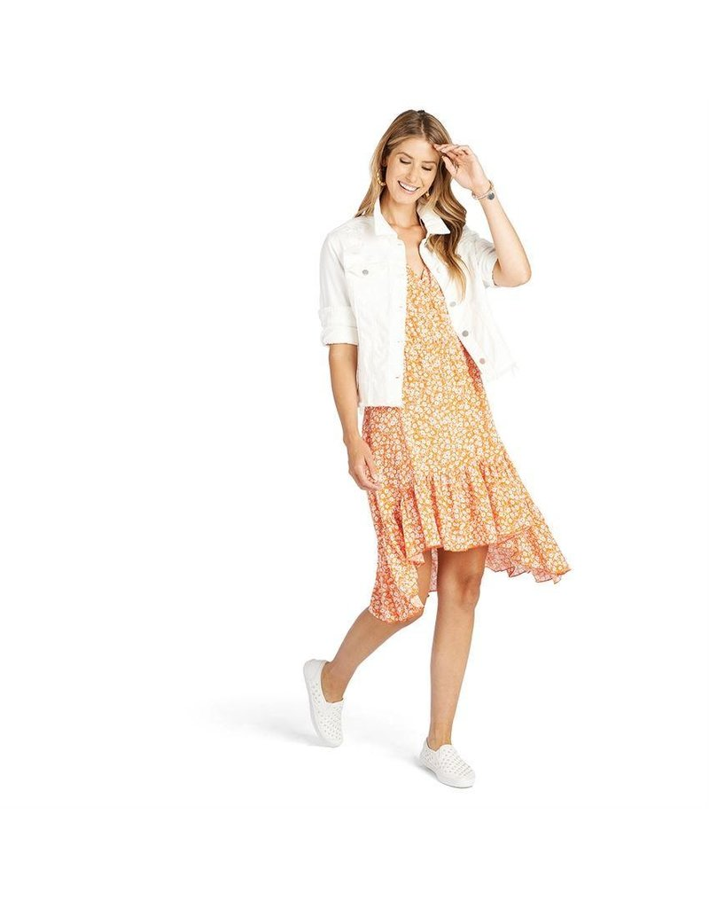COCO + CARMEN Yellow Amaryllis Short Ruffle Dress
