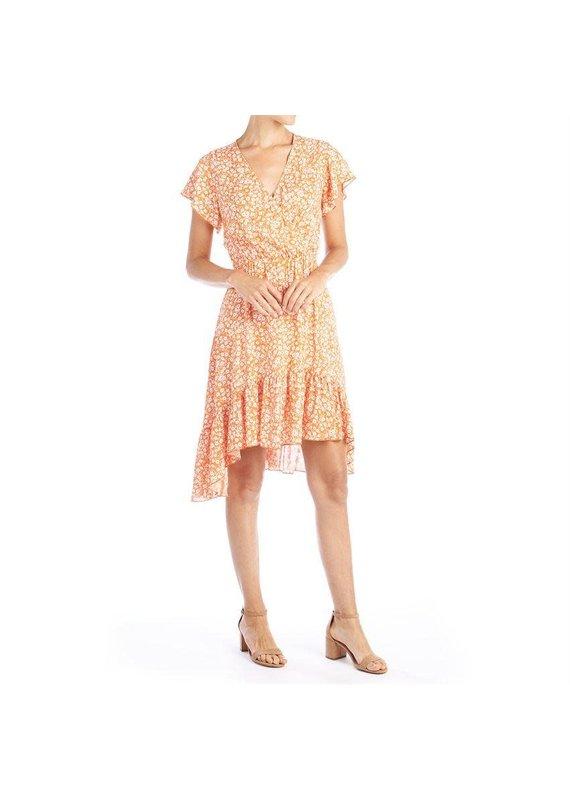 COCO + CARMEN Orange Amaryllis Short Ruffle Dress