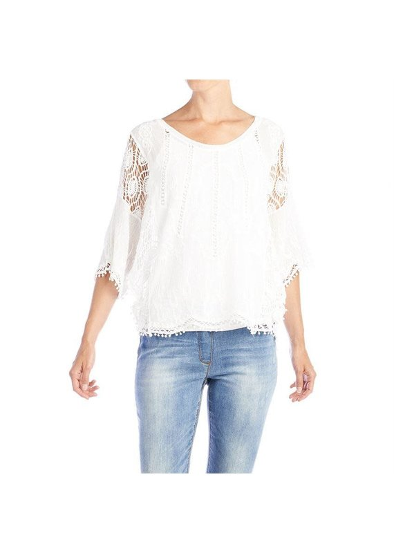 COCO + CARMEN White Laural Crochet Sleeve Top
