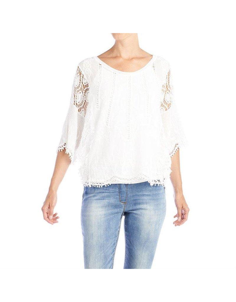 COCO + CARMEN White Laural Crochet Sleeve Top