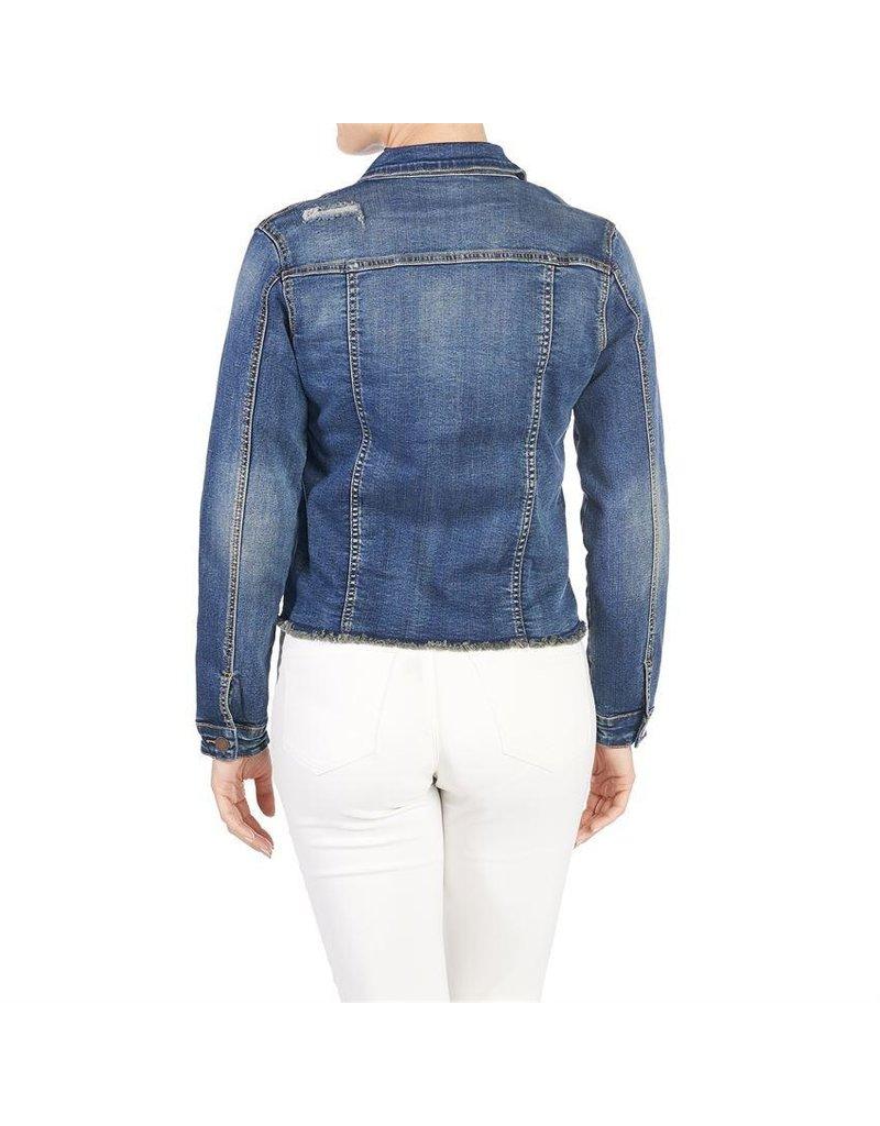 COCO + CARMEN OMG Distressed Medium Wash Denim Jacket