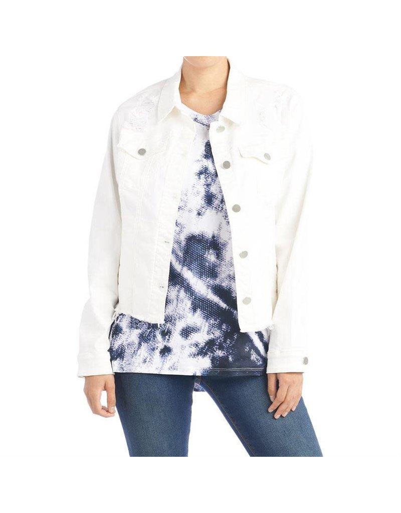 COCO + CARMEN OMG Distressed White Denim Jacket