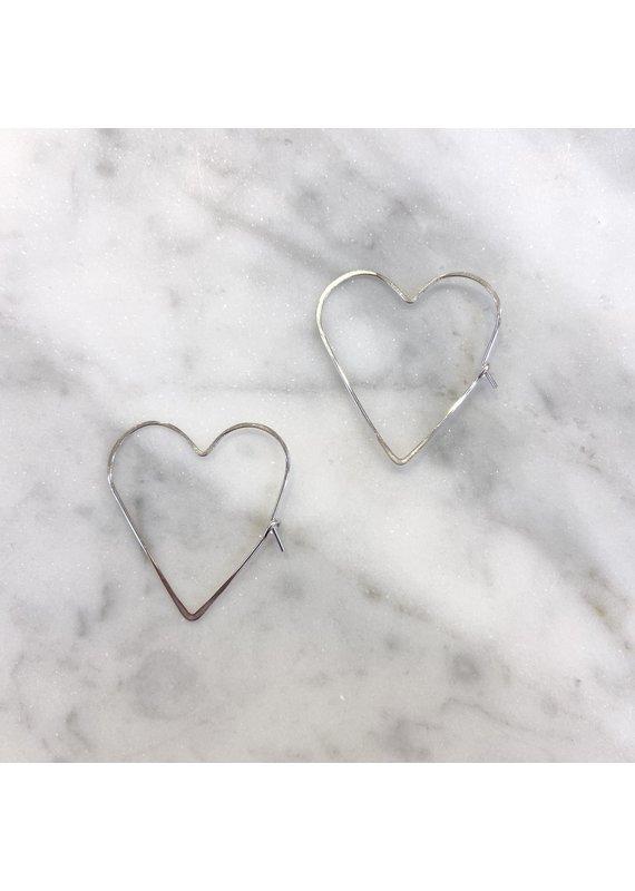 Linda Trent Sterling Medium Heart Hoops