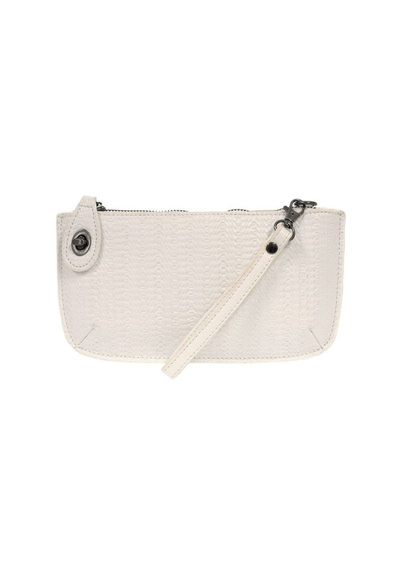 Joy Susan White Woven Crossbody Wristlet Clutch