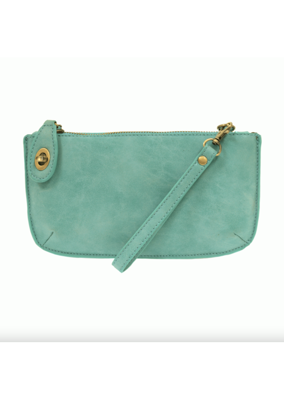 Joy Susan Light Turquoise Lux Crossbody Wristlet Clutch