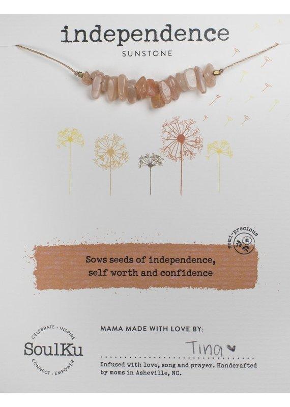 SoulKu Sunstone Gemstone Seed Independence Necklace