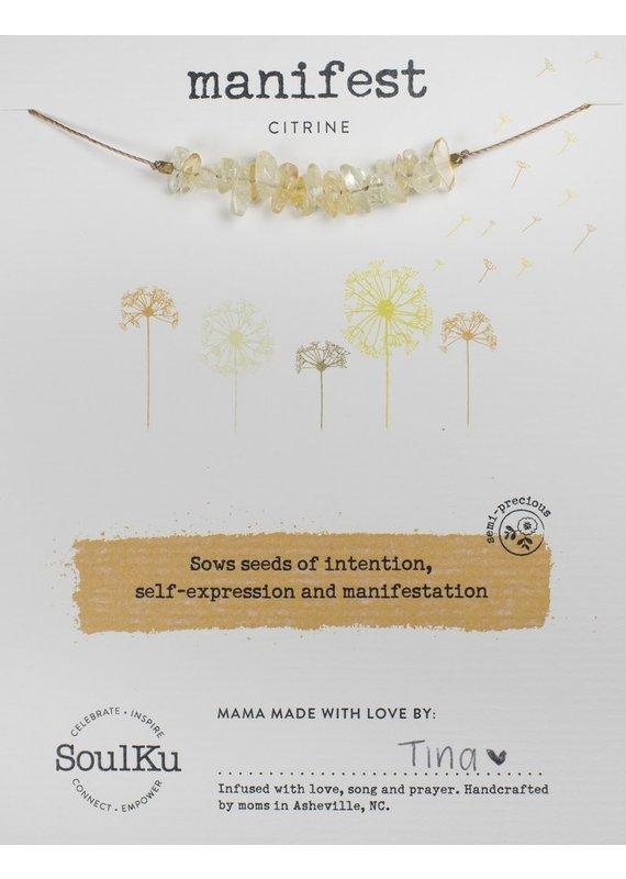 SoulKu Citrine Gemstone Seed Manifest Necklace
