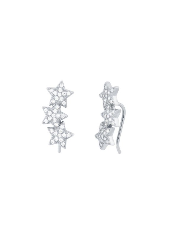 f.y.b jewelry Star Crawler Earrings in Silver