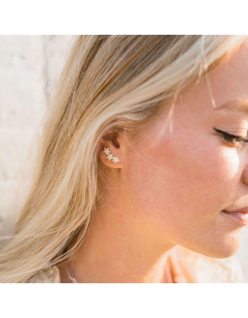 f.y.b jewelry Star Crawler Earrings in Silver