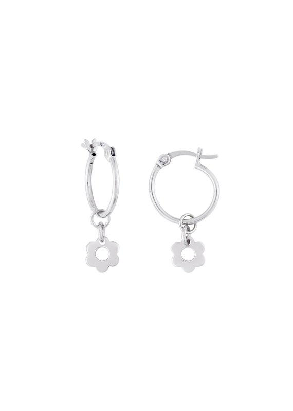 f.y.b jewelry Kaia Silver Flower Hoops