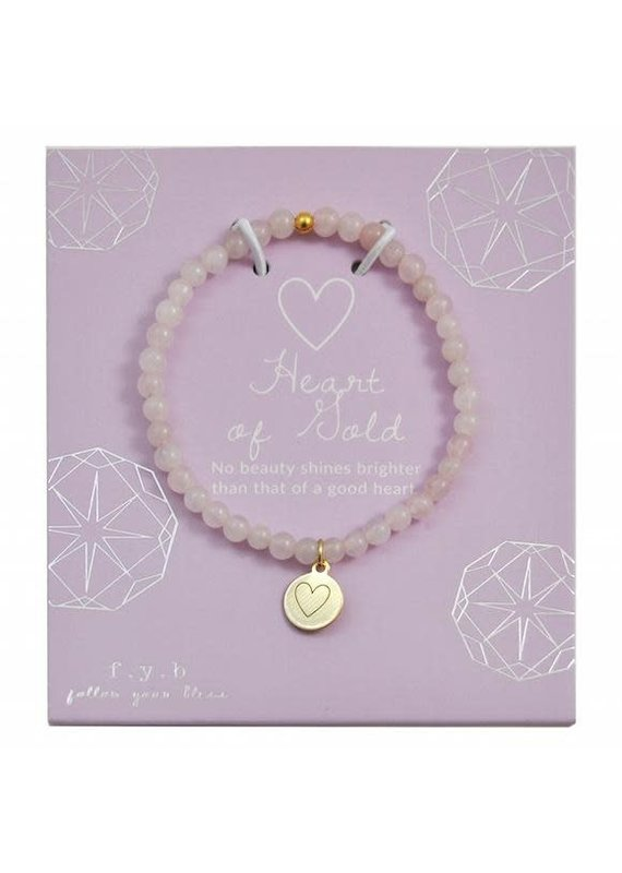 f.y.b jewelry Rose Quartz Gold Heart Charm Bracelet
