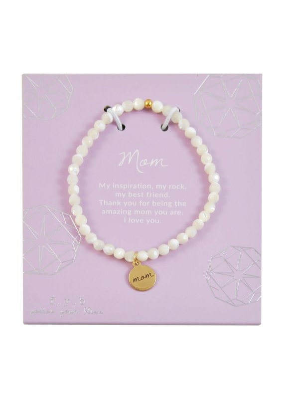 f.y.b jewelry Mother of Pearl Mom Charm Bracelet