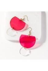 Ink + Alloy Hot Pink Double Half Round Lucite Earring