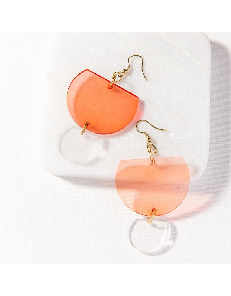 Ink + Alloy Watermelon Double Half Round Lucite Earring