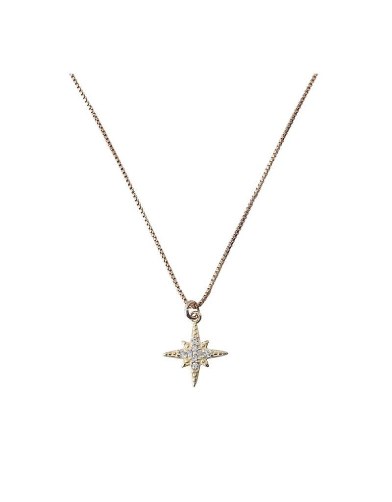 Modern Opus Gold CZ Starburst Necklace