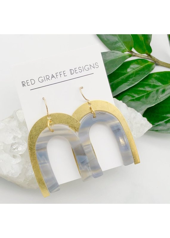 Red Giraffe Brass & Gray Acetate Arch Earrings