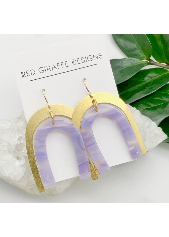 Red Giraffe Brass & Purple Acetate Arch Earrings