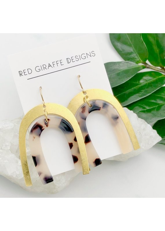 Red Giraffe Brass & Tortoise Acetate Arch Earrings