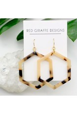 Red Giraffe Hexagon Tortoise Acetate Earrings
