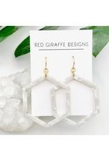 Red Giraffe Hexagon White Acetate Earrings