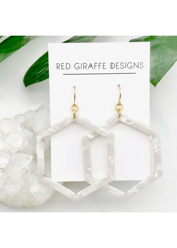 Red Giraffe Hexagon White Acetate Earrings