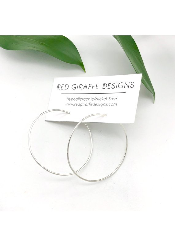 Red Giraffe Sterling Minimalist Wire Circle Hoops