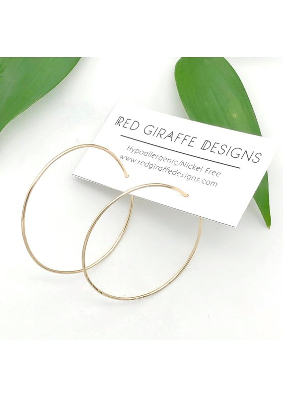 Red Giraffe Gold Minimalist Wire Circle Hoops