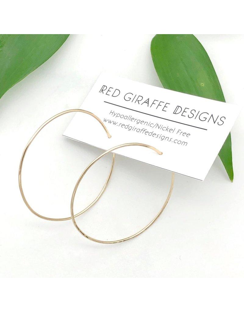Red Giraffe Gold Minimalist Wire Circle Hoops