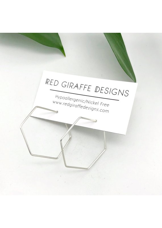 Red Giraffe Sterling Minimalist Wire Hexagon Hoops- Small