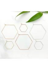 Red Giraffe Sterling Minimalist Wire Hexagon Hoops- Small