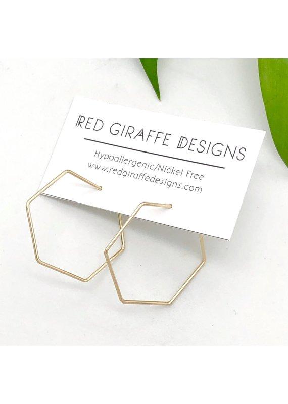 Red Giraffe 14K Gold Filled Minimalist Wire Hexagon Hoops- Small