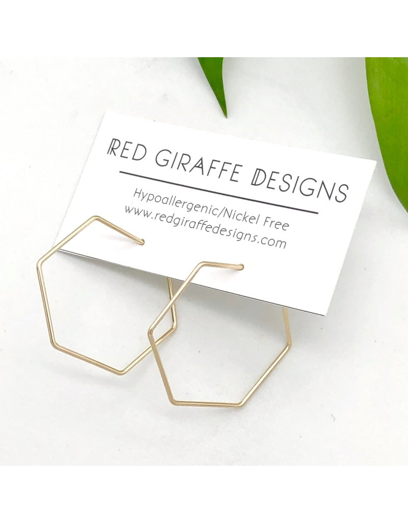 Red Giraffe 14K Gold Filled Minimalist Wire Hexagon Hoops- Small