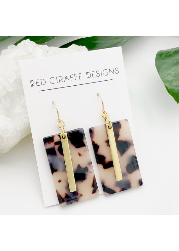 Red Giraffe Rectangle Tortoise Acetate Earrings