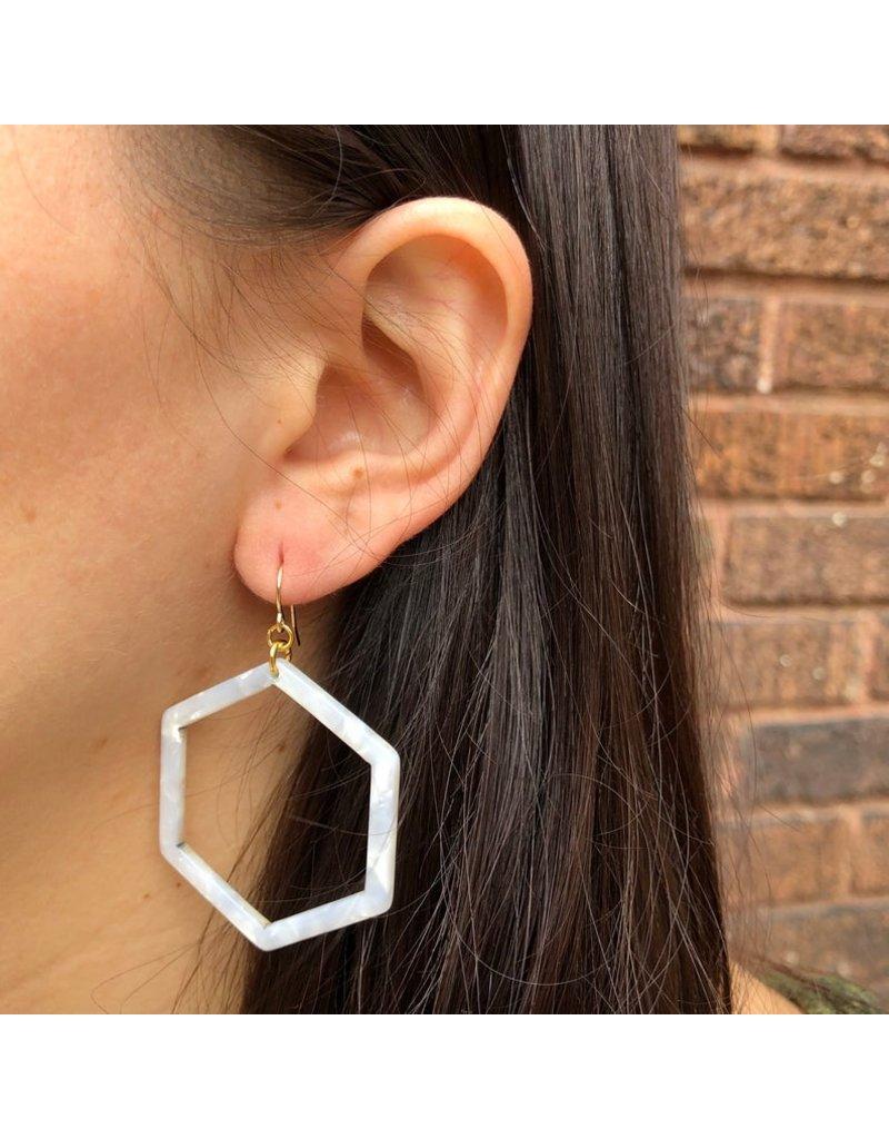 Red Giraffe Hexagon Tortoise Acetate Earrings