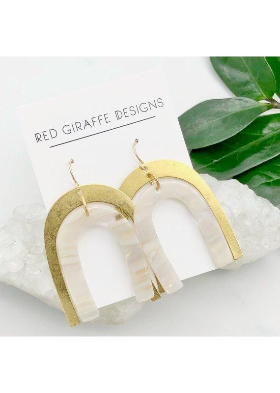 Red Giraffe Brass & White Acetate Arch Earrings